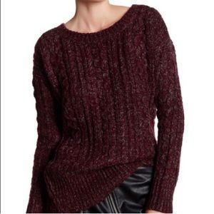 BB Dakota Chunky Cable Knit Zip Hem Sweater